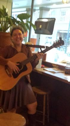 My first night at Montpelier's Capitol Grounds Cafe. At the end, owner Bob Watson got up and played lead with me. A great night of music! -Miranda Moody Miller July 19, 2014