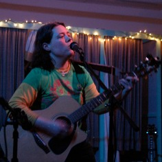 Playing a few tunes during open mic at the Corinth Coffeehouse, a monthly musical fundraiser and community event to benefit local organizations. -Miranda Moody Miller