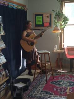 Bringing tunes to the check-out line at the Upper Valley Food Co-op in White River Junction, one of my favorite places to be! -Miranda Moody Miller June 6, 2014